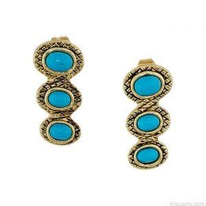 NWT House of Harlow Tanta 3-Stone Earrings